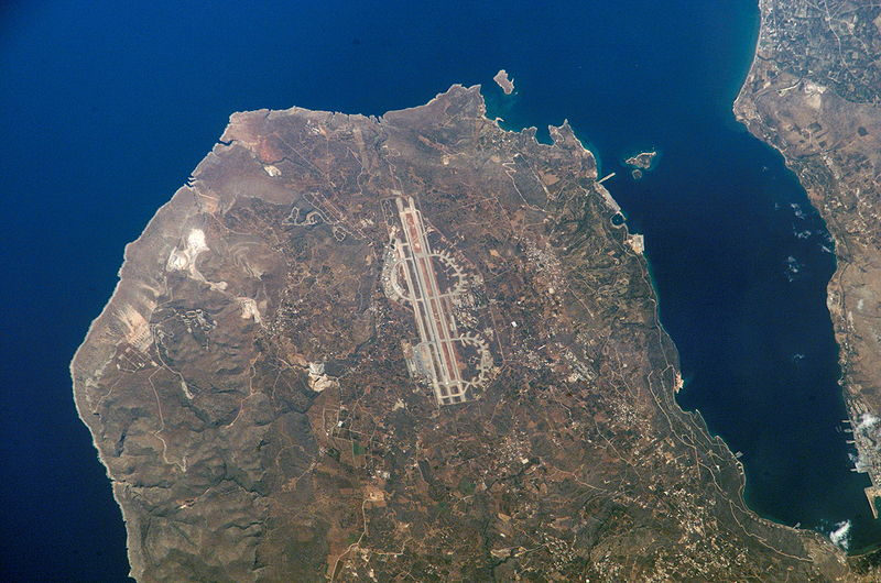 Satellite view of the Akrotiri peninsula. Chania Airport shown in centre.