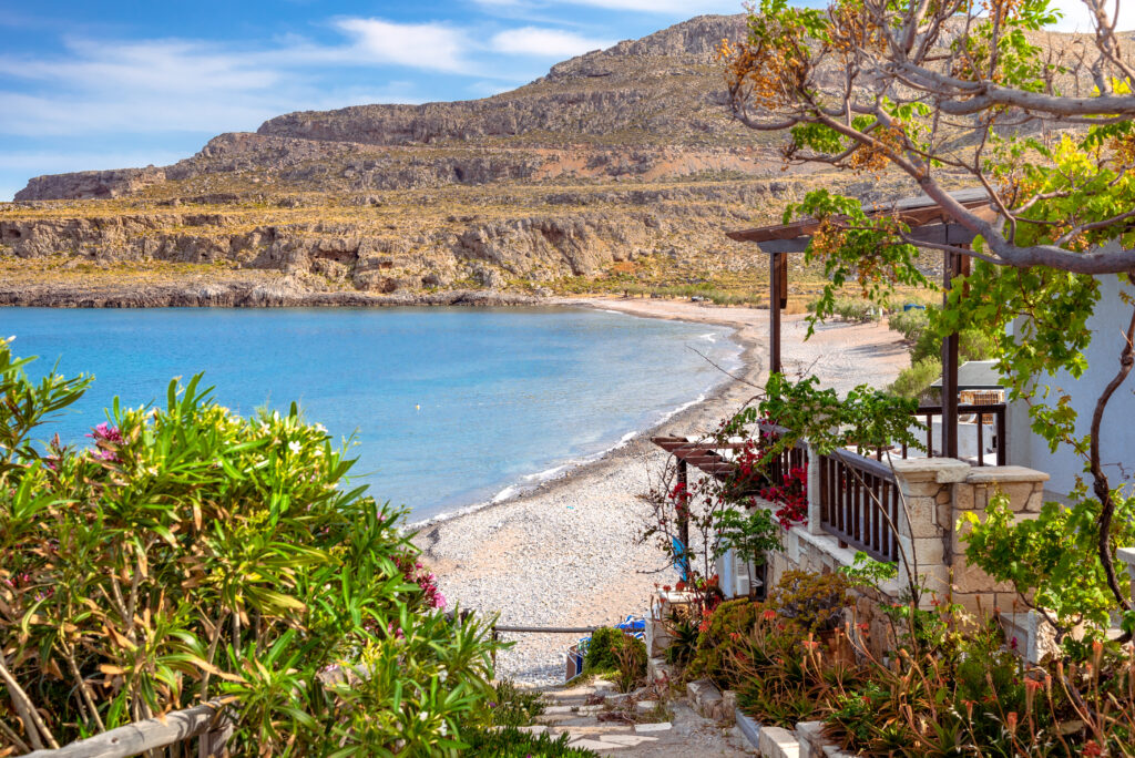 The peaceful village of Kato Zakros at the eastern coast of Crete. Beach and tamarisks, Greece