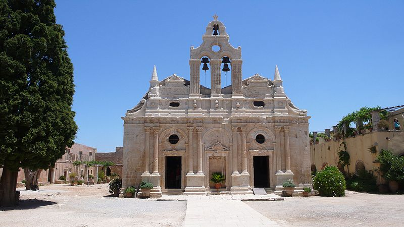 Venetian baroque church at Arkadi Monastery, Rethymno, Crete