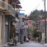 View of the central street in Vytina, Arkadia, Greece