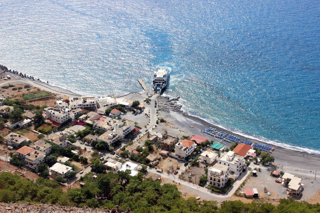 Travel to Crete, ferryboat at Agia Roumeli