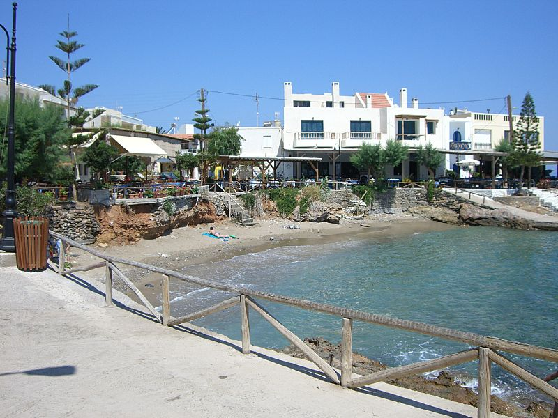 View of the tavernas in Mochlos village, Crete