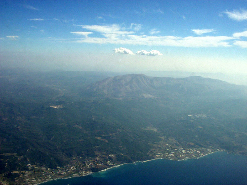 Aerial view of Attavyros mountain and municipality, Rhodes island, Greece