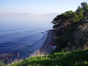 Batsi beach on Salamis island, Saronic Gulf, Greece