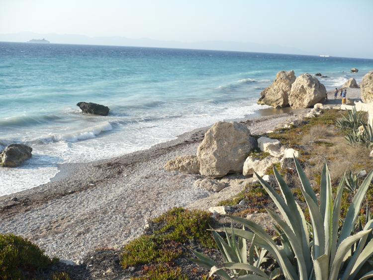 Beach in Rhodes town, Greece