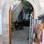 Entrance of roofgarden restaurant, Lindos, Rhodes island, Greece
