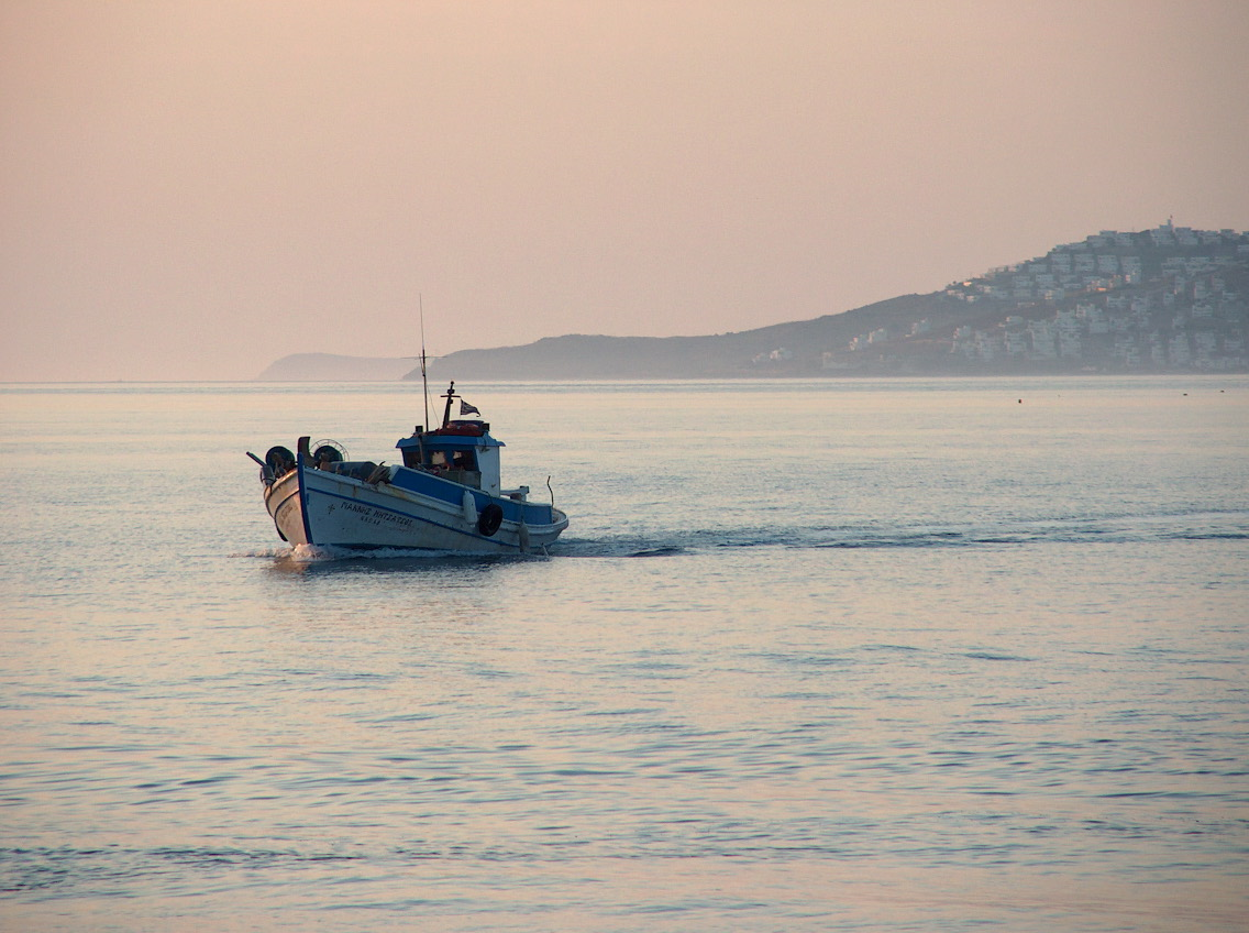 Fisher boat in sunset, Kos island