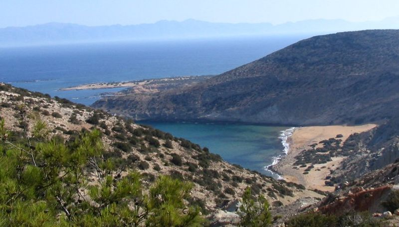 Gavdos, Potamos beach from Ambellos path