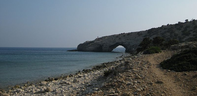 Kap Trypiti, the most southern point of Europe. The sculpture of the oversized chair can be seen
