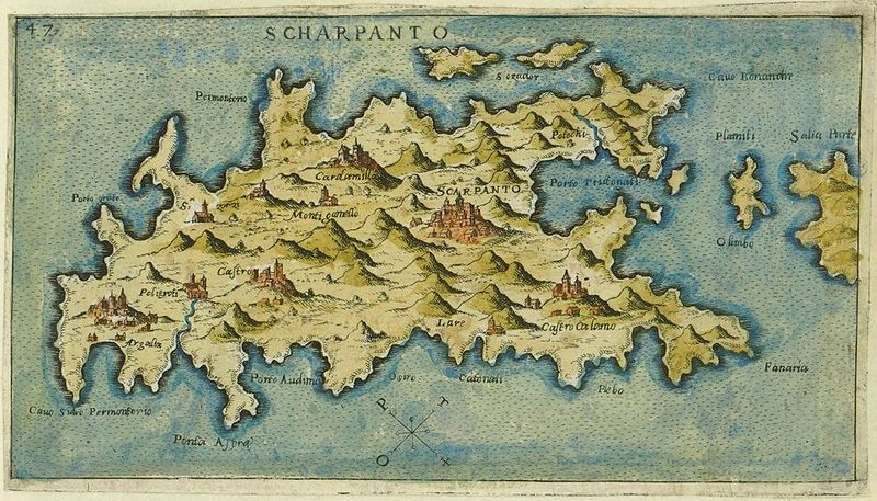 Karpathos Map by Giacomo Franco (1597)