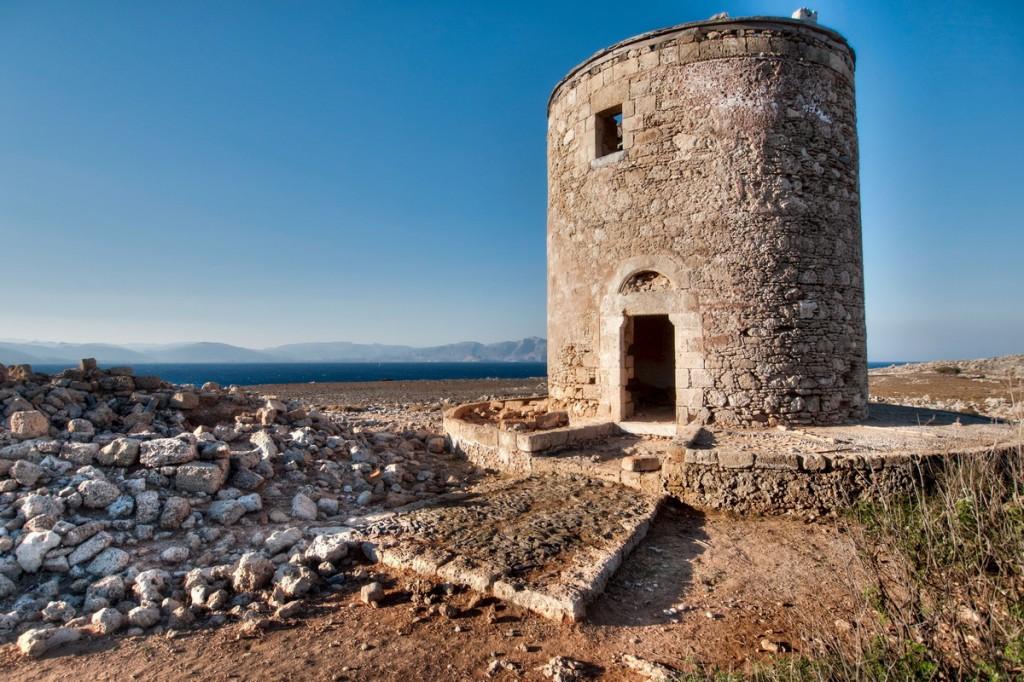 Windmill near Lindos, Rhodos island, Greece