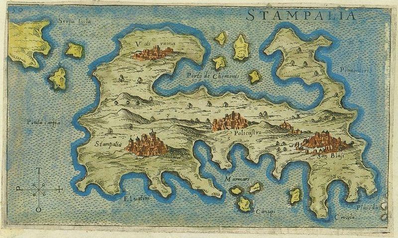 Map of Astypalaia by Giacomo Franco (1597)