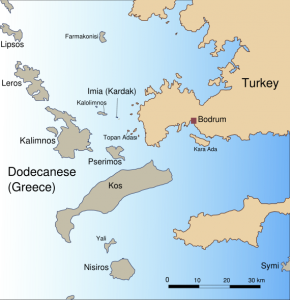 Map with some of the Dodecanese islands