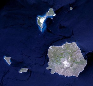 Satelite photo of Nisyros island, Greece