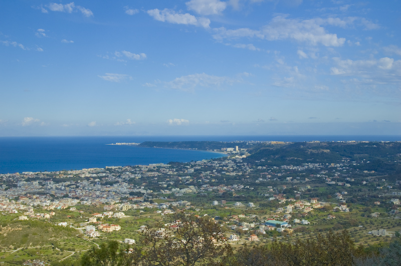 Panorama of Ialysos town, Rhodes island, Greece