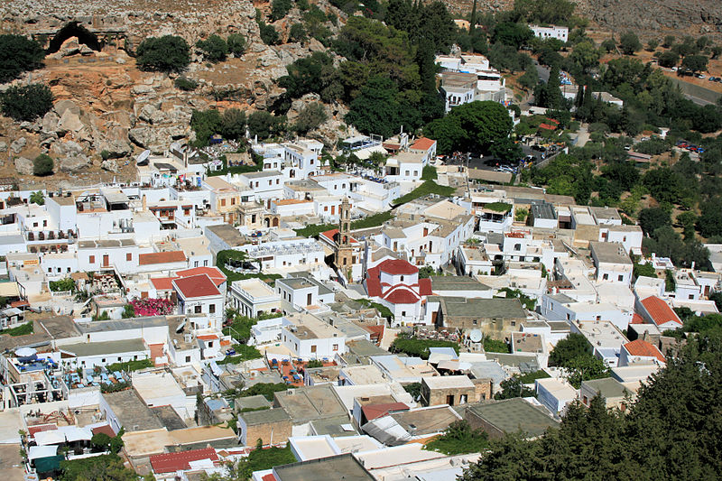 Panorama of Lindos old town, Rhodes island, Greece