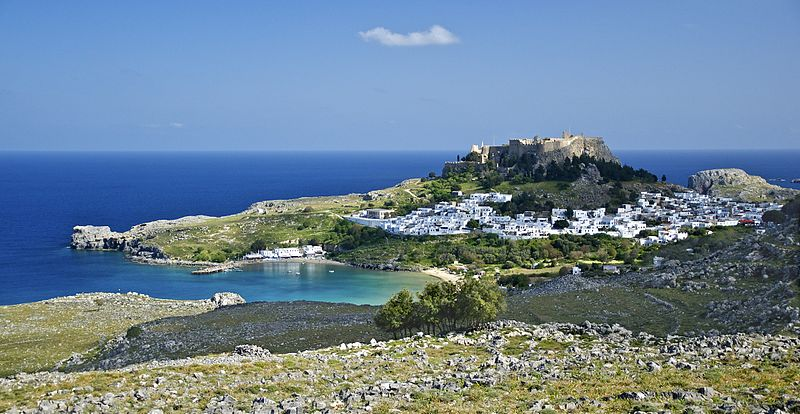 Panoramic view of Lindos, Rhodes island, Greece
