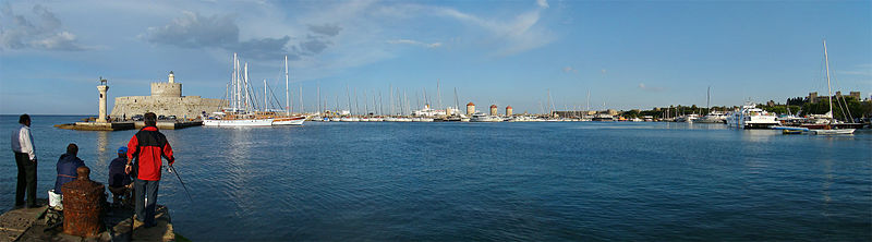 Panoramic view of Rhodes harbour