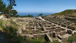Panoramic view of ancient Kameiros, Rhodes island, Greece