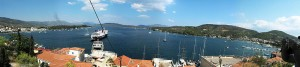 Poros - panoramatic view of habour, Saronic Gulf, Greece