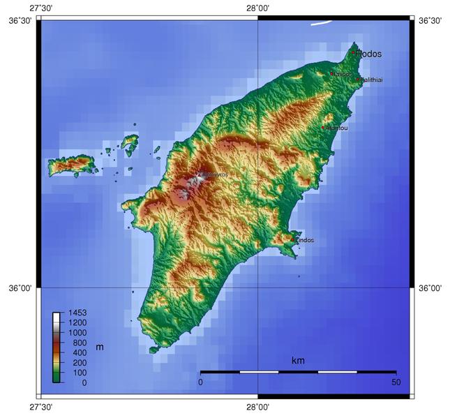 Topography of Rhodos island, Southeastern Aegean, Greece