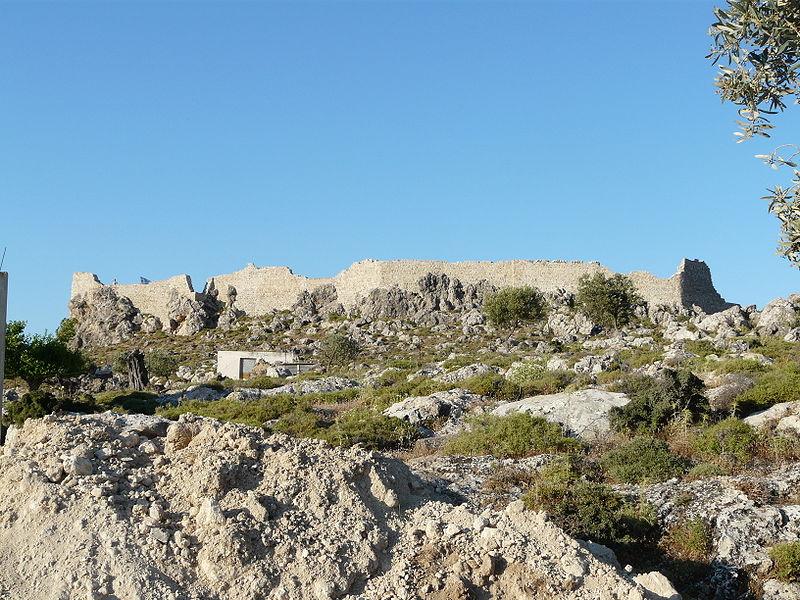 Ruins of the castle of St.John in Archangelos village, Rhodes island, Greece