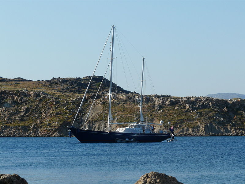 Sailboat in Lindos Bay, Rhodes island, Greece