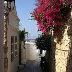 Street in the old town of Lindos, Rhodes island, Greece