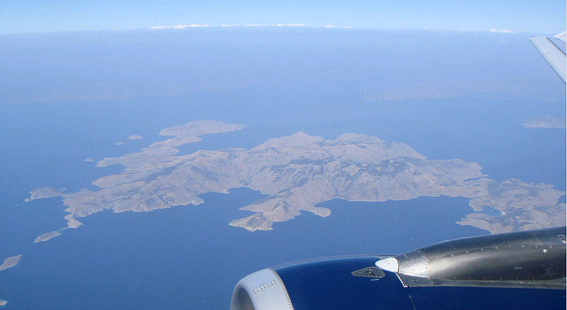 Symi Island seen from above, with Turkey in the background