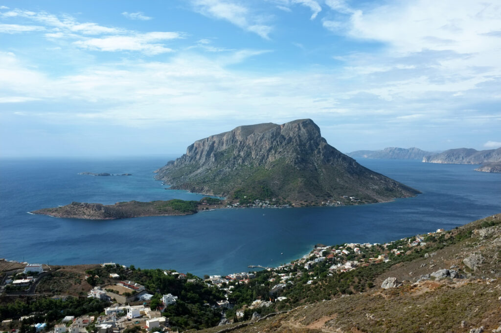 The islet of Telendos near Myrties port in Kalymnos, Dodecanese, Greece