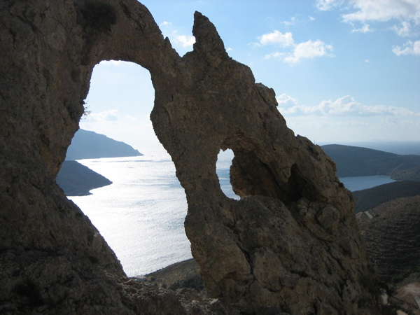 The Arch, one of many natural rock wonders on Kalymnos, Dodecanese, Greece