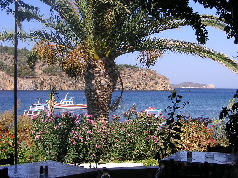 The beach at Meloi, within walking distance of Skala, Patmos, Greece