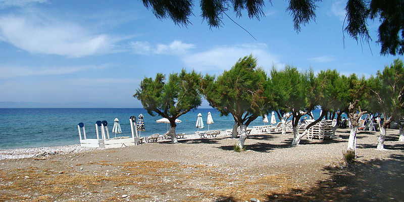The beach of Kremasti village, Rhodes island, Greece