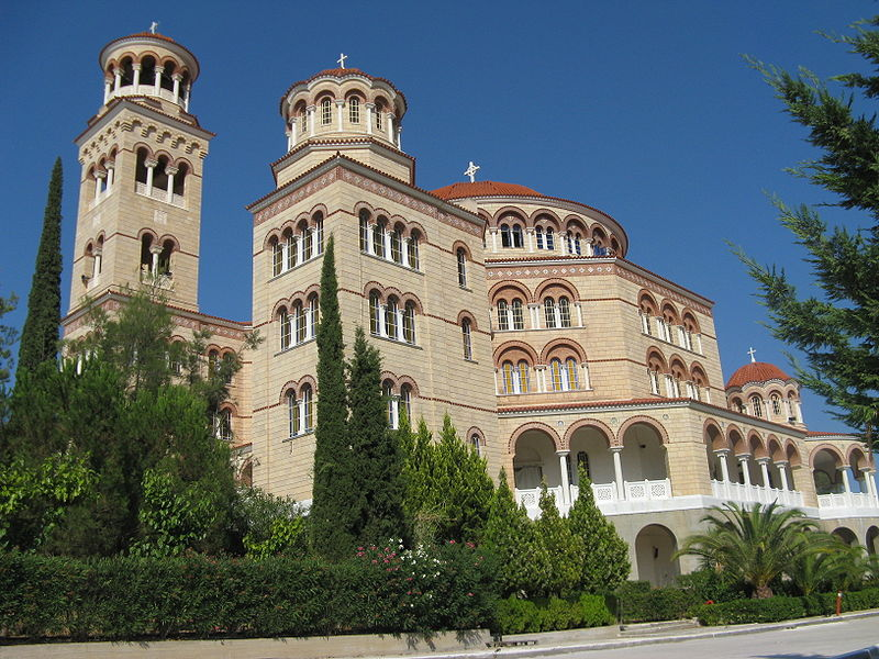 The cathedral of Saint Nectarios of Aegina, Saronic Gulf, Greece