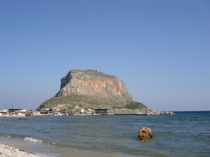 The colossal rock of Monemvasia, Greece