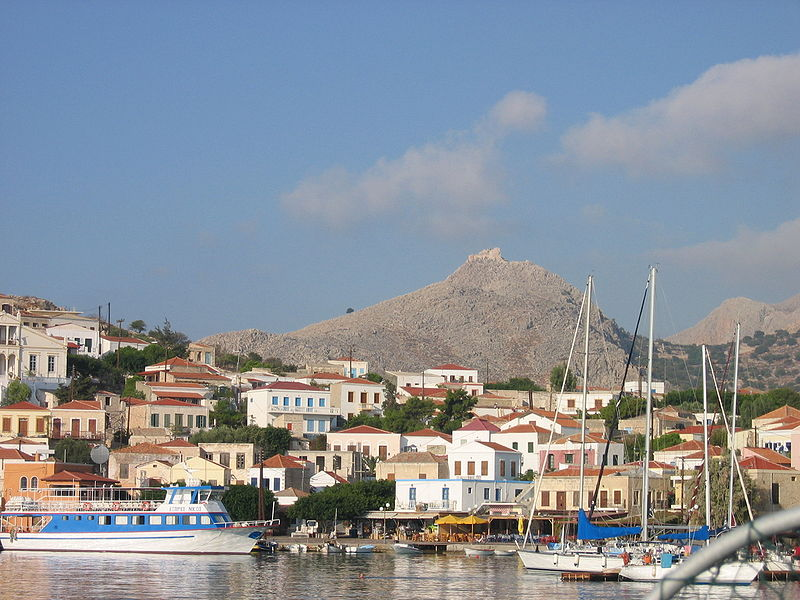 The port of Emporio, Chalki island, Dodecanese, Greece