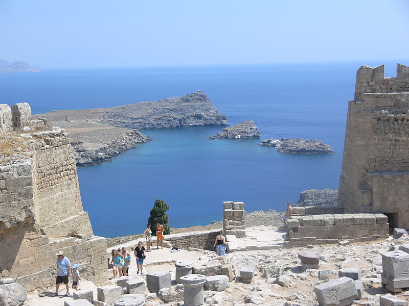 View from Acropolis of Lindos, Rhodes island, Greece
