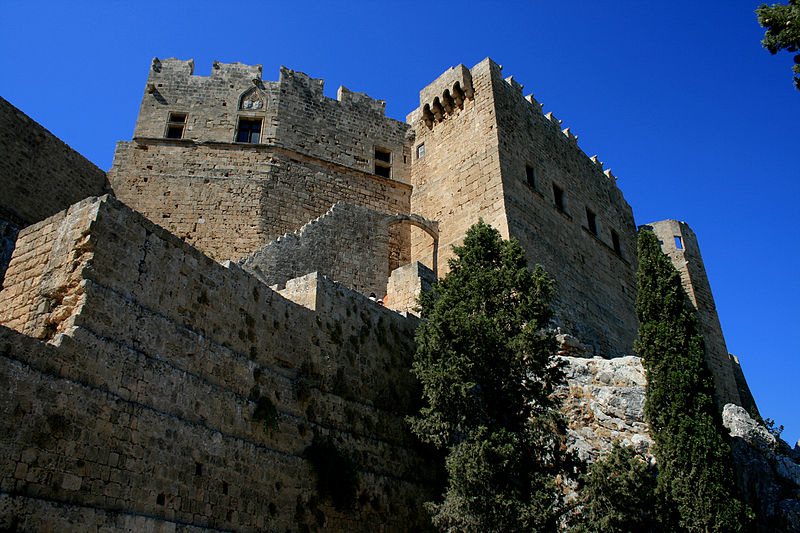 View of the castle, Lindos, Rhodes island, Greece