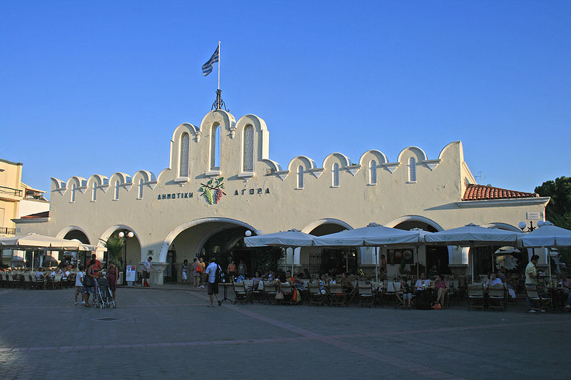 View of the municipal market in Kos town, Greece