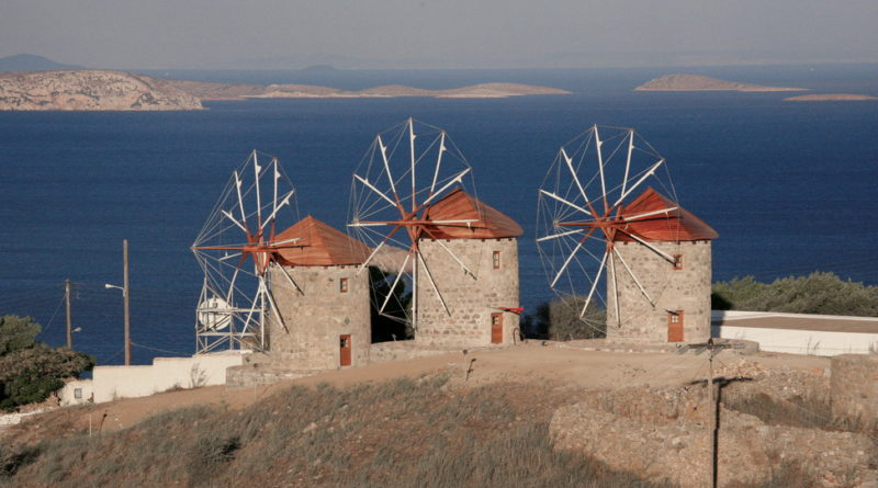 Windmills of the Monastery of St John the Theologian, Chora, Patmos, Greece - Photo by S. Lambadaridis