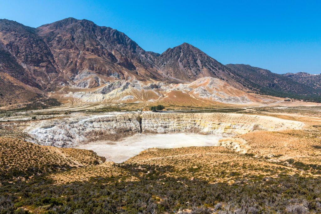 The big volcano crater in Nisyros, Dodecanese Greece