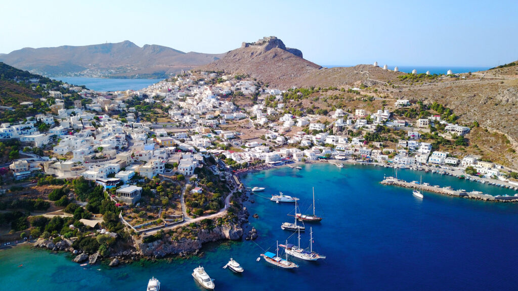 Drone view of Agia Marina in Leros island, Dodecanese Greece