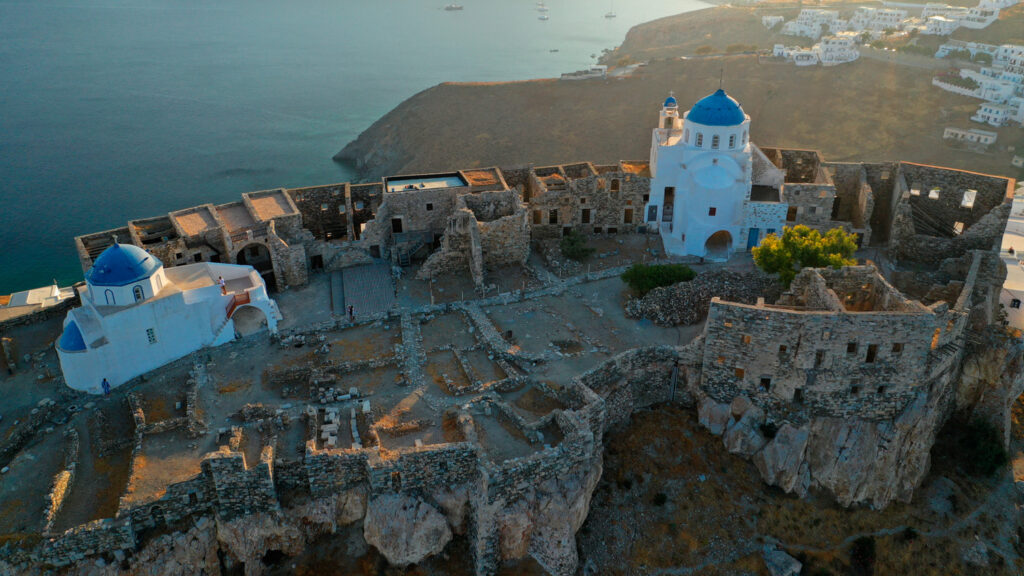 Drone view of the iconic medieval castle overlooking the Aegean Sea in Astypalea, Dodecanese Greece