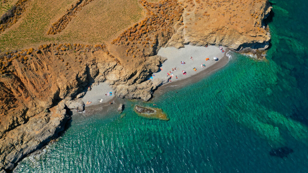 Drone view of Tzanakia beach in Astypalea, Dodecanese Greece