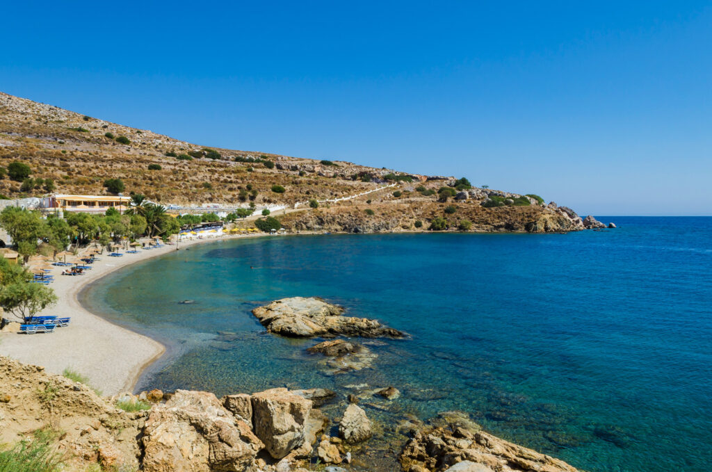 Alinda beach in Leros island, Dodecanese Greece