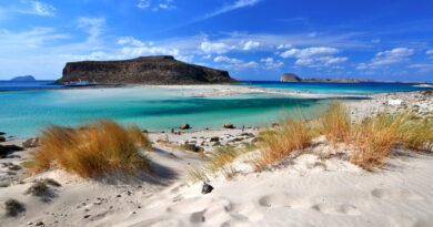 Balos lagoon on Crete island, Greece. Tourists relax and bath in crystal clear turquoise water. tropical beach of pure white sand and Gramvousa island