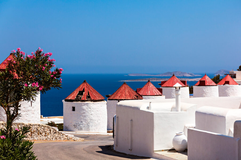 Traditional windmills in Astypalea, Dodecanese Greece