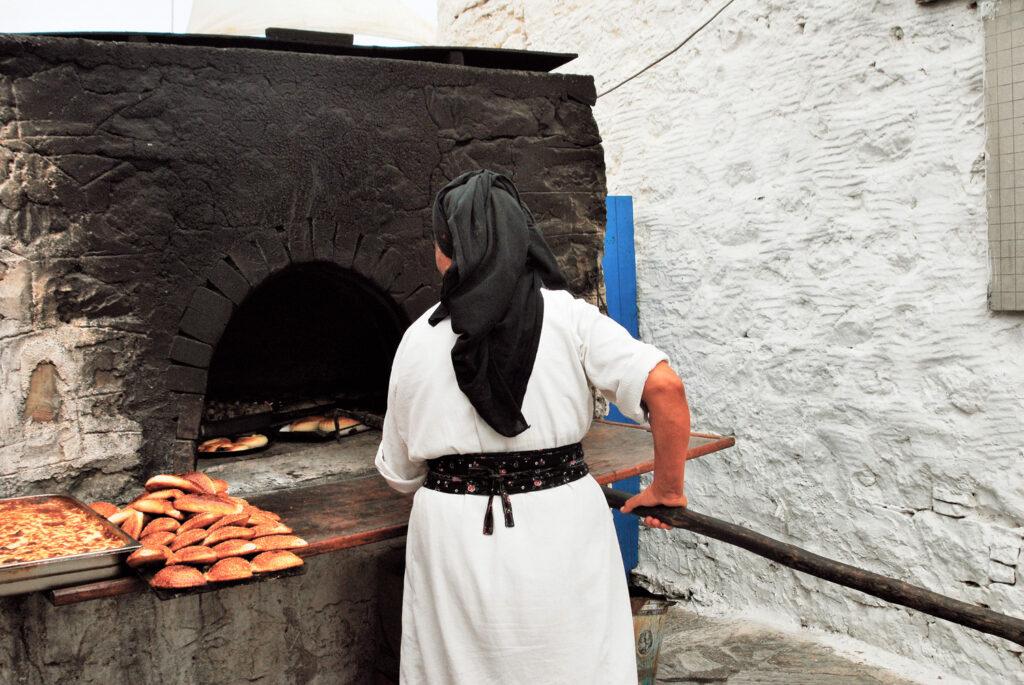 Olympos village, baking special bread, Karpathos, Dodecanese Greece