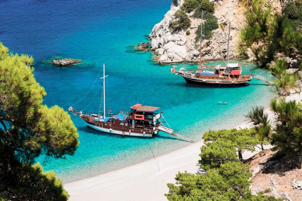 Apella beach between tall cliffs, Karpathos, Dodecanese Greece