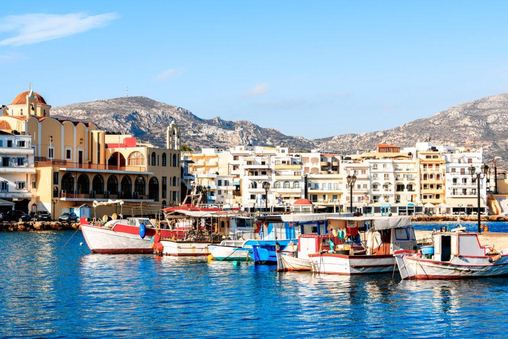 Boats in beautiful Pigadia fishing port, Karpathos, Dodecanese Greece